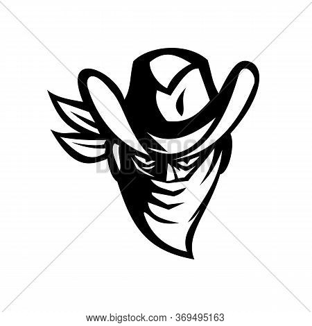 Retro Style Illustration Of A Cowboy Outlaw Or Bandit Wearing Face Mask Or Bandana To Cover His Face