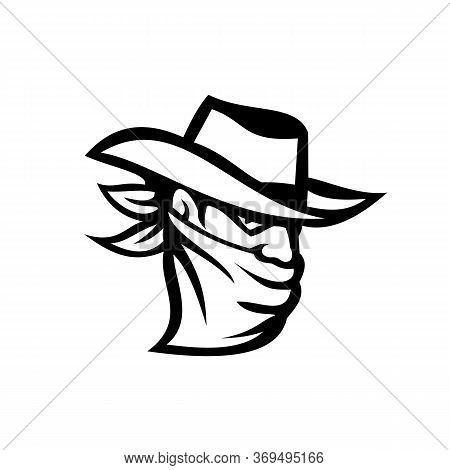 Retro Style Illustration Of A Cowboy Outlaw Or Bandit Wearing Face Mask Or Bandana Covering His Face