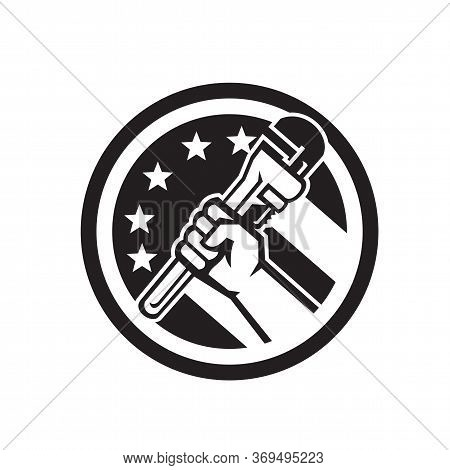 Black And White Illustration Of A Plumber Hand Holding Adjustable Pipe Wrench Viewed From The Side S