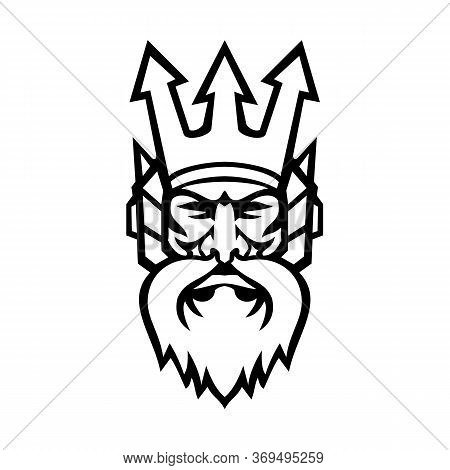 Mascot Icon Illustration Of Head Of Poseidon, God Of The Sea In Greek Religion And Myth, Wearing A T