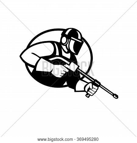 Black And White Illustration Of A Worker With Water Blaster Pressure Power Washing Sprayer Spraying
