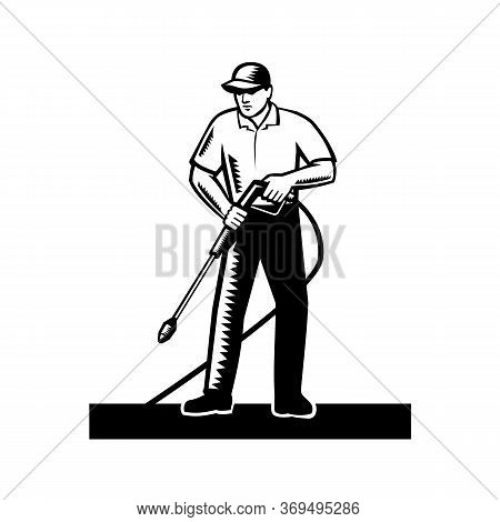 Illustration Of Male Worker With Pressure Washer Chemical Washing Using High-pressure Water Spray Vi