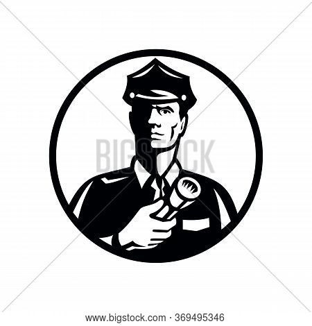 Illustration Of A Security Guard, Law Enforcement Officer, Police Officer Or Policeman Holding A Fla