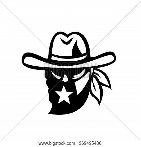 Retro Style Black And White Illustration Of A Texan Outlaw Or Bandit Wearing Face Mask Bandana With