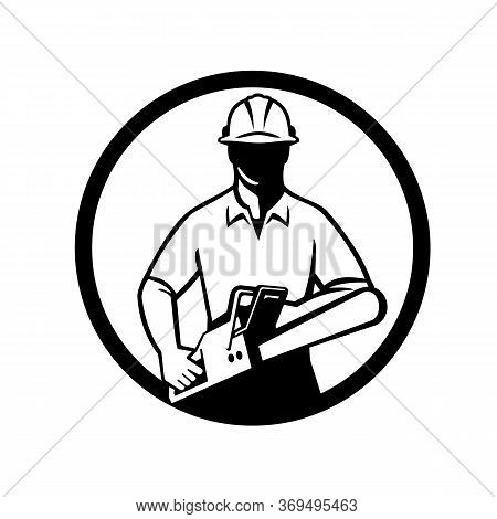 Black And White Illustration Of A Tree Surgeon, Arborist, Gardener Or Tradesman Worker Wearing Hard
