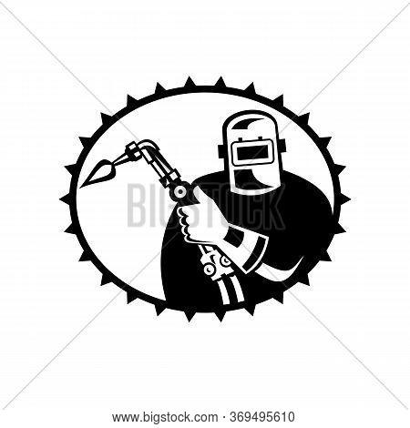 Illustration Of A Welder Acetylene Welding Holding Welding Torch Viewed From Front Set Inside Ellips