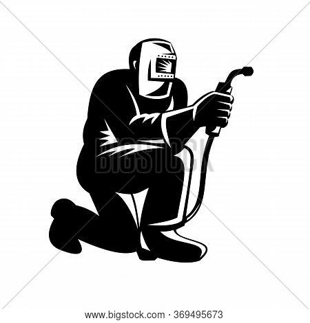 Illustration Of Welder Worker Working Using Welding Torch Kneeling On Isolated Background Done In Re