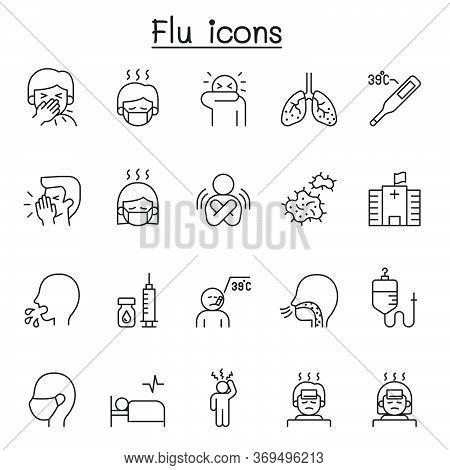 Flu, Sick & Illness Icons Set In Thin Line Style
