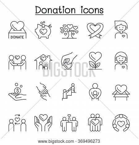 Donation & Charity Icons Set In Thin Line Style