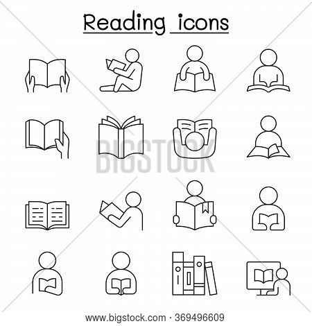 Reading Icons Set In Thin Line Style