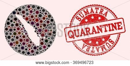 Vector Map Of Sumatra Island Collage Of Coronavirus And Red Grunge Quarantine Stamp. Infection Cells