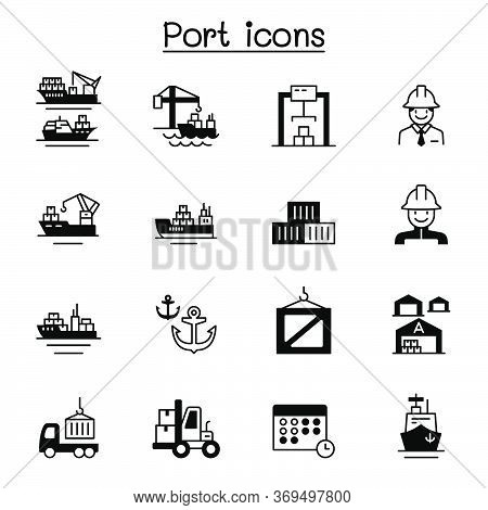Set Of Marine Port Related Vector Icons. Contains Such Icons As Boat, Cruise, Cargo, Warehouse, Logi