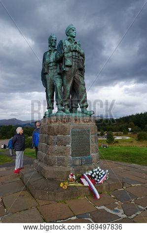 Lochaber, Scotland, Uk: Sep 22, 2017: The Commando Memorial Overlooks The Training Areas Of The Comm