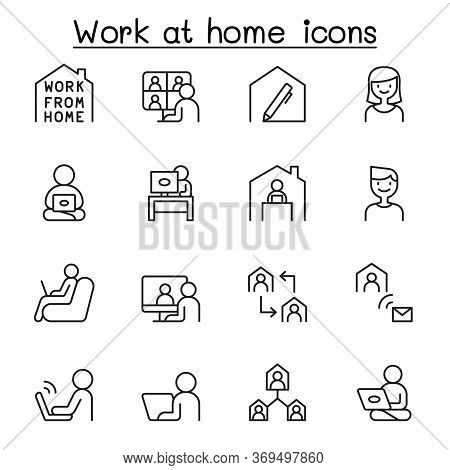 Set Of Work At Home Line Icons. Contains Such Icons As, Business People, Video Conference, Online Me