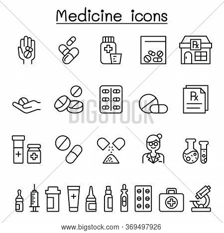 Set Of Medical Drug Related Vector Line Icons. Contains Such Icons As, Pill, Tablet, Syringe, Pharma