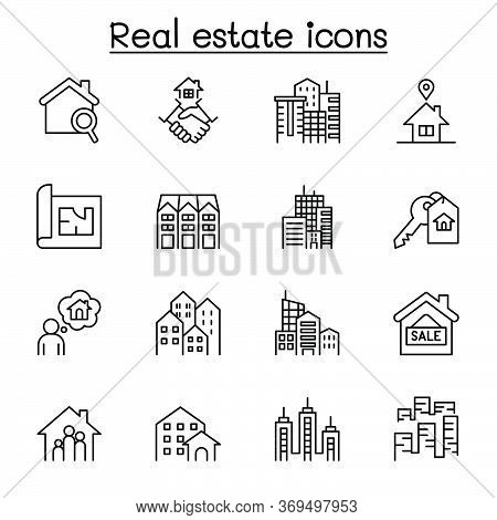 Set Of Real Estate Related Vector Line Icons. Contains Such Icons As, Condominium, Apartment, Bluepr