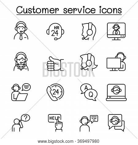 Set Of Customer Service Related Vector Line Icons. Contains Such Icons As Support, Call Center, Head