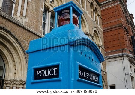 London, Uk: Dec 2, 2017: Detail View Of A Police Public Call Post, Small Cast-iron Towers Manufactur