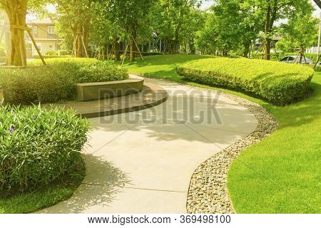 Landscape Of Smooth Green Grass Lawn, Trees With Supporting, Seating On Gray Curve Pattern Walkway S