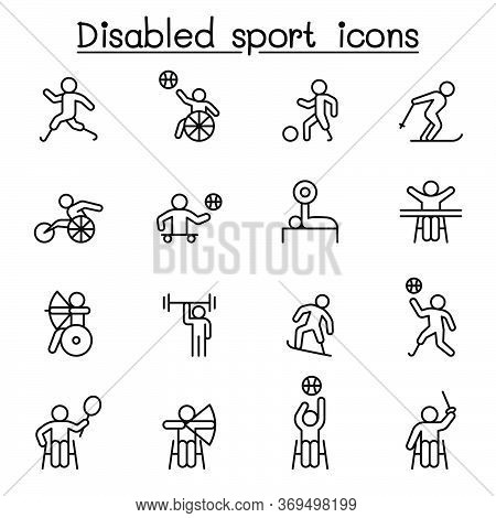 Disabled Sport Icons Set In Thin Line Style