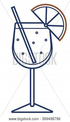 Vector Line Art Minimalist Stroke Sparkling Aperol Spritz Stylized Alcohol Cocktail Logo Icon. For C