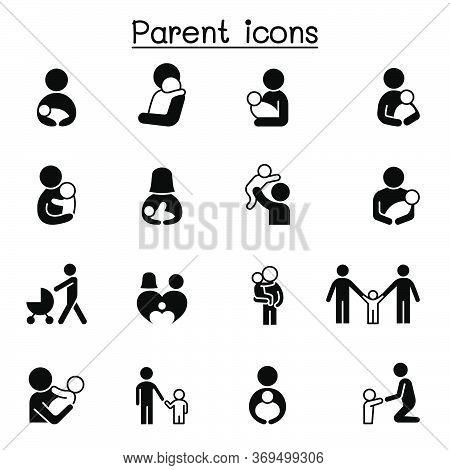 Parent & Family Icons Set Vector Illustration Graphic Design
