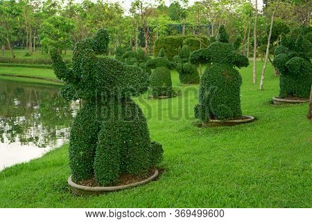 Happy Elephants Shape Bush Standing Near A Pond In The Park And Trees On Background