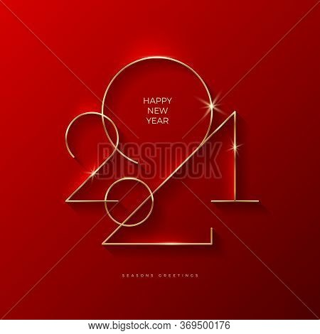 Golden 2021 New Year Logo. Holiday Greeting Card. Vector Illustration. Holiday Design For Greeting C