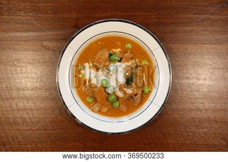 Pork Panang. Thai Red Curry Thai Food. Top View.