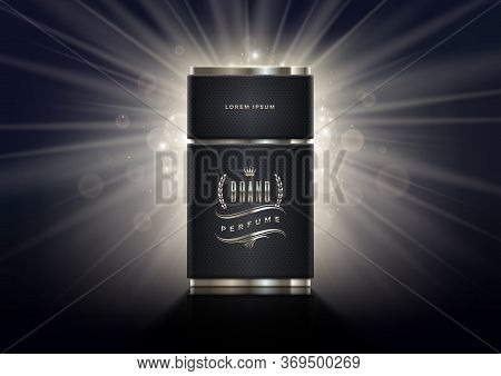 Black And Silver Perfume Bottle Template On A Shinning Light Background. Premium Design Perfume. Vec