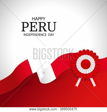 Vector Illustration Of Peru Independence Day. Cockade National Symbol Of Peru.