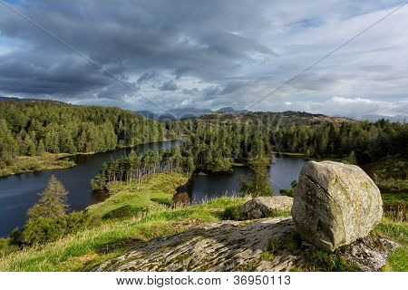 Panoramic view over Tarn Hows in English Lake District poster