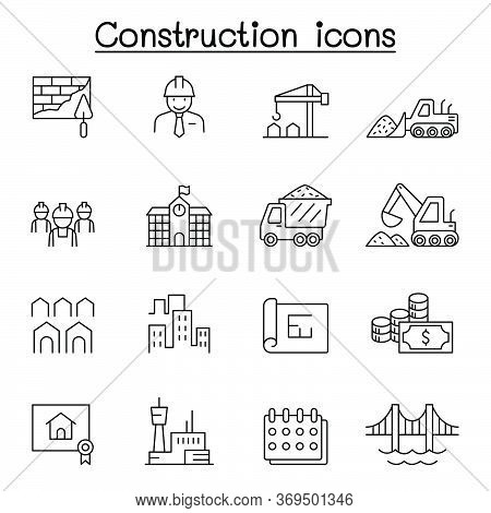 Construction Icons Set In Thin Line Style