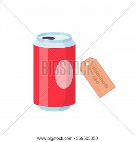 Soda In Colored Red Aluminum Can. Cold Drink. Vector Cartoon Flat Illustration Isolated On White.