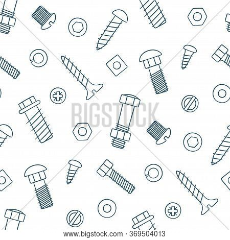 Seamless Pattern Of Fasteners. Bolts, Screws And Nuts In Doodle Style. Hand Drawn Building Material.