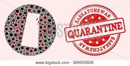 Vector Map Of Saskatchewan Province Collage Of Flu Virus And Red Grunge Quarantine Seal Stamp. Infec
