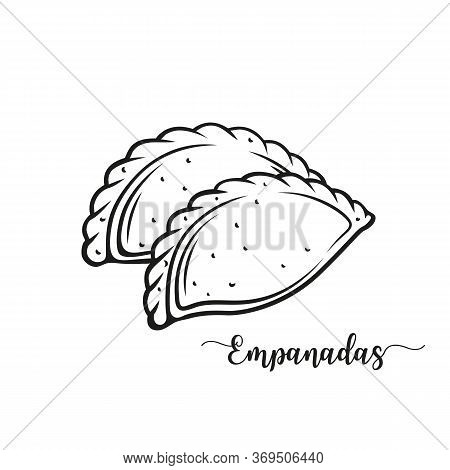 Empanadas Or Fried Pie Outline Vector Illustration. Typical Latino America And Spanish Fast Food. Em