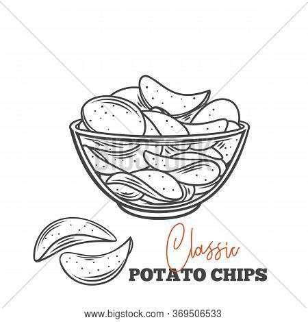 Bowl Of Potato Chips Outline Vector Illustration. Crispy Snack, Potato In The Form Of Crispy Plates