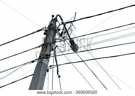 Lightning Electric Pole With Unorganized Wires. Electric High Voltage Danger. Electrical Pole Silhou