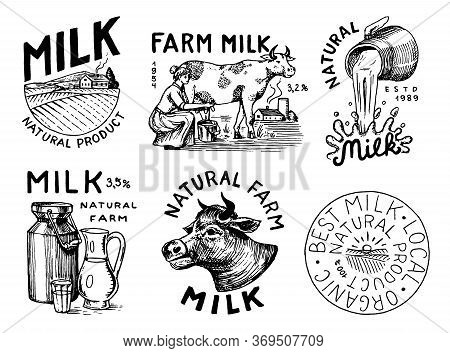 Milk Set. Cow And Woman Farmer, Milkmaid And Jug And Bottles, Packaging And Meadow. Vintage Logo For
