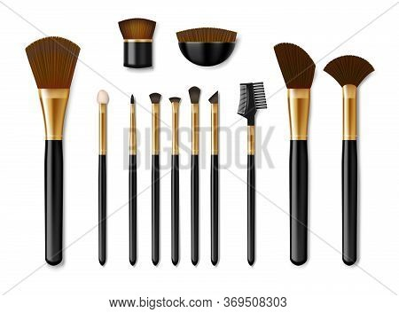 Set Of Professional Golden Make Up Brushes Isolated. Realistic Cosmetic Powder Blush, Eye Shadow, Br