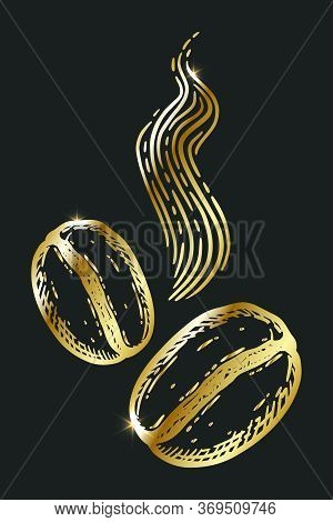 Pair Of Golden Roasted Aromatic Coffee Beans, Caffeine Symbol. Hand Drawn Graphic Vector Illustratio