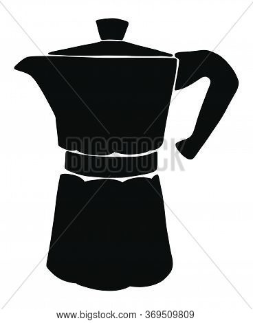 Italian Coffee Maker Or Moka Pot Silhouette, Espresso Machine, Mocha Express. Hand Drawn Vector Illu