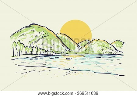 Landscape Vector Sketch Color Illustration With Mountains, Lake, Boat And Beach At Sunset. Summer Ba