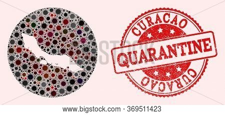 Vector Map Of Curacao Island Collage Of Coronavirus And Red Grunge Quarantine Seal. Infection Cells