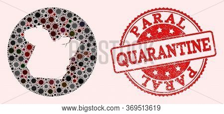 Vector Map Of Paral State Collage Of Covid-2019 Virus And Red Grunge Quarantine Seal. Infection Cell