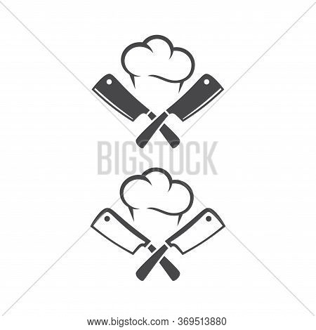 Kitchen Knives Or Cleaver Crossed, With Chef Cap Black Vector Pictogram Icon. Logo For Restaurant.