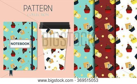 A Set Of Patterns With Cupcakes With Cherries, Chocolate, Lemon, Berries And Waffles. Flat Illustrat