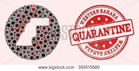 Vector Map Of Western Sahara Collage Of Covid-2019 Virus And Red Grunge Quarantine Seal Stamp. Infec