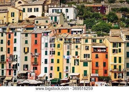 Portovenere, Liguria, Italy - July 28, 2014: Cityscape Of Portovenere Or Porto Venere With The Multi